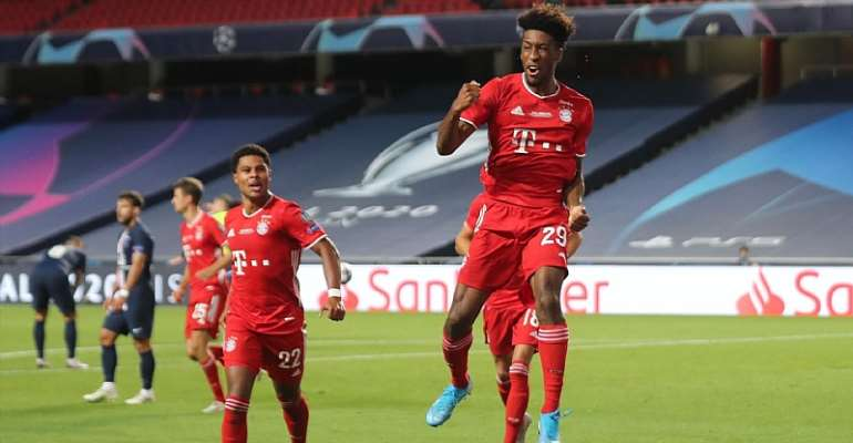 French forward Kingsley Coman (R) celebrates scoring the opening goal with his teammates during the UEFA Champions League final football match between Paris Saint-Germain and Bayern Munich at the Luz stadium in Lisbon on August 23, 2020.  Image credit: Getty Images