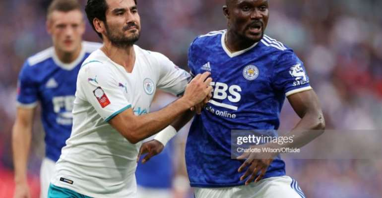 LONDON, ENGLAND - AUGUST 07: Ilkay Gundogan of Man City and Daniel Amartey of Leicester during the FA Community Shield match between Leicester City and Manchester City at Wembley Stadium on August 7, 2021 in London, England. (Photo by Charlotte Wilson/Offside/Offside via Getty Images)