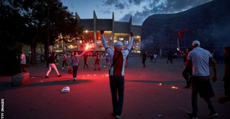 Thousands of fans had gathered outside the Parc des Princes stadium to watch the Champions League final on a big screen
