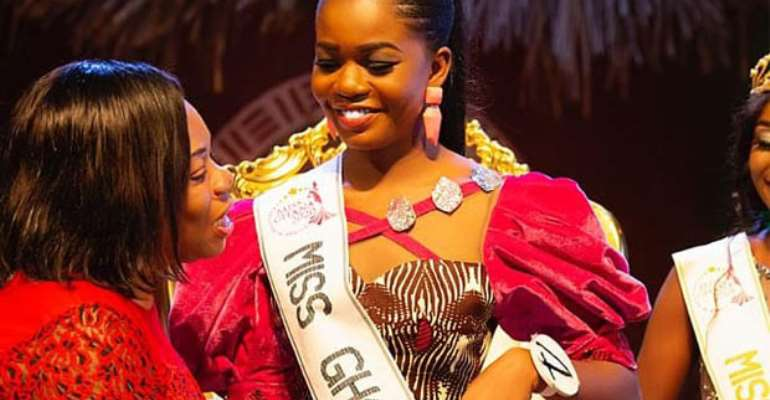 Monique being decorated with Miss Ghana sash