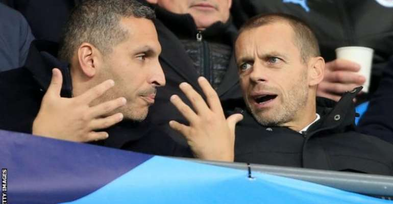 Khaldoon Al Mubarak (left) held clear-the-air talks with Uefa president Aleksander Ceferin (right) last month