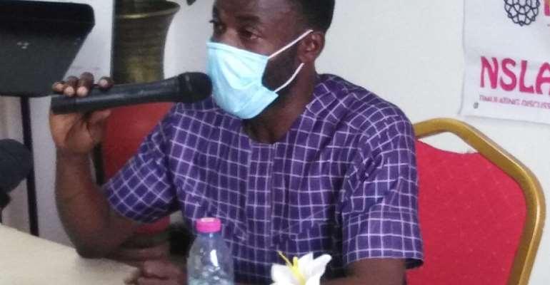 Mr. Benjamin Anabila, the INSLA Programs Officer addressing the press