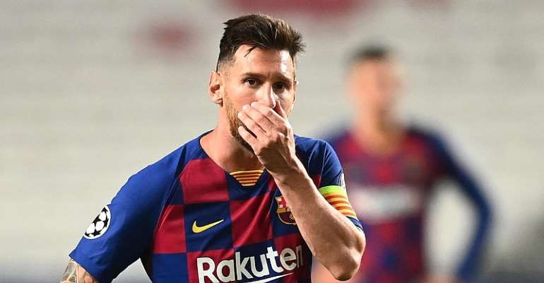 LIONEL MESSI OF BARCELONA LOOKS DEJECTED DURING THE UEFA CHAMPIONS LEAGUE QUARTER FINAL MATCH BETWEEN BARCELONA AND BAYERN MUNICH AT ESTADIO DO SPORT LISBOA E BENFICA ON AUGUST 14, 2020 IN LISBON, PORTUGAL.  IMAGE CREDIT: GETTY IMAGES