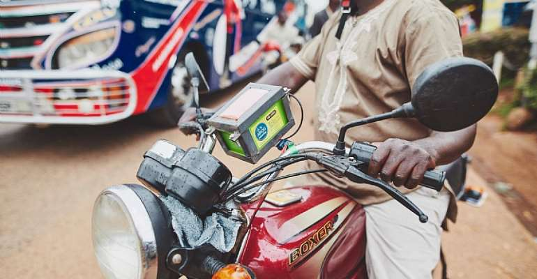 AirQo monitoring system on a 'boda boda'.  - Source: Makerere University