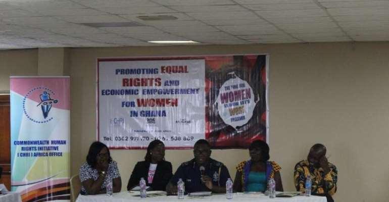 From left-right: Ms Mercy Larbi, CHRAJ; Ms Bernice Naah, AfCHuRSD; ACP David Agyemang Adjem, deputy Ashanti Regional Commander; Madam Mina Mensah, CHRI; and Theophilus Ayugane, Royal Netherlands Embassy
