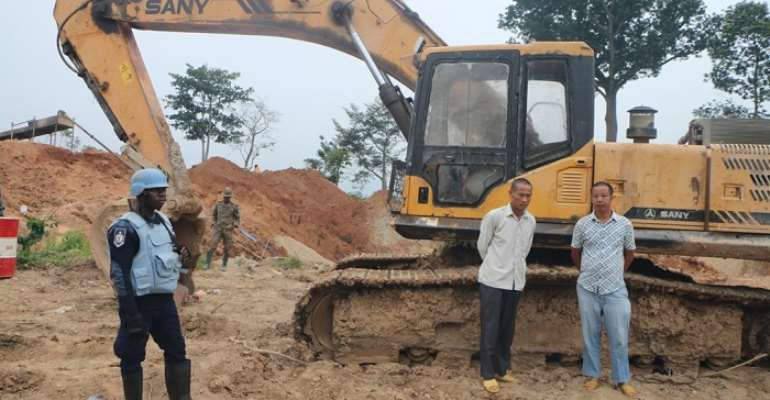 One of the seized excavators and the Chinese