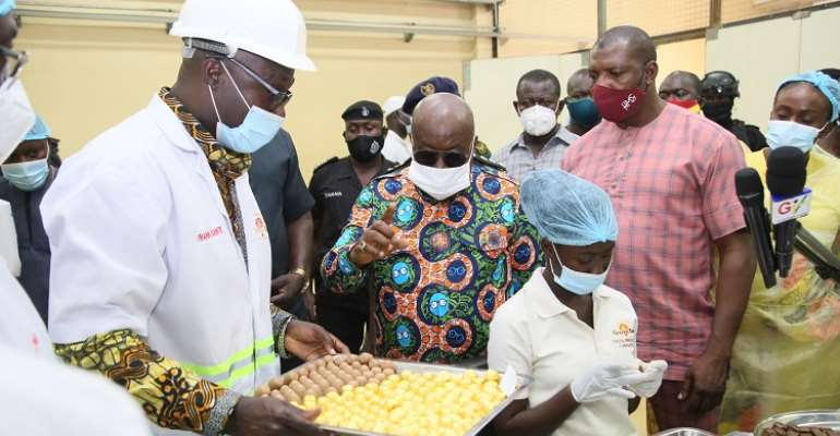 President Akufo-Addo inspecting some of the products at CPC