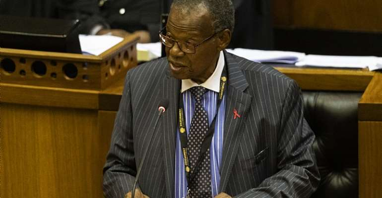 Veteran South African politician Mangosuthu Buthelezi addressing parliament in 2019. - Source: EFE-EPA/Nic Bothma