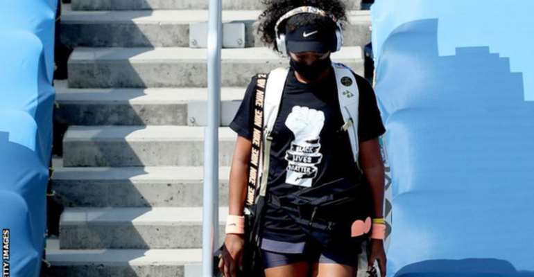 Osaka wore a Black Lives Matter t-shirt as she walked onto court for her semi-final on Friday
