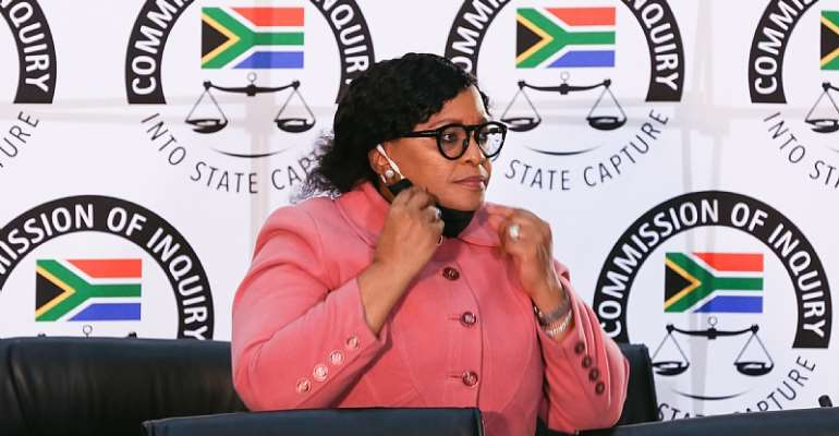 Former South African government minister Nomvula Mokonyane, a leading member of the ruling ANC, at the commission probing grand corruption. - Source: Luba Lesolle/Gallo Images via Getty Images