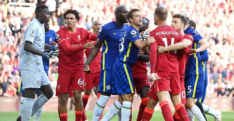 10-man Chelsea dig in to claim point at Liverpool after Reece James red card at Anfield