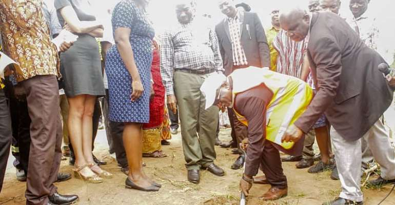 1D1F: Eastern Regional Minister Cuts Sod For Compost and Briquette Plants.