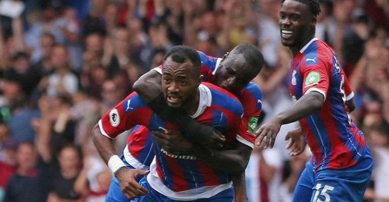 Jordan Ayew celebrates goal against Aston Villa