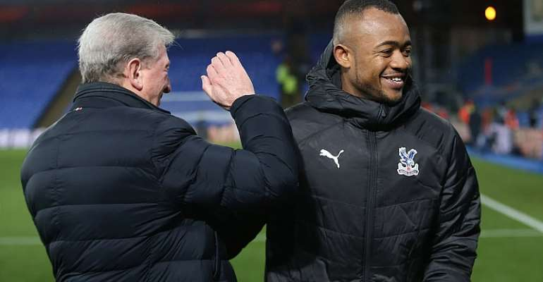 Jordan Ayew with Crystal Palace manager Roy Hodgson