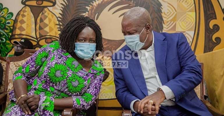 John Mahama and Prof. Jane Naana Opoku-Agyemang at Manhyia