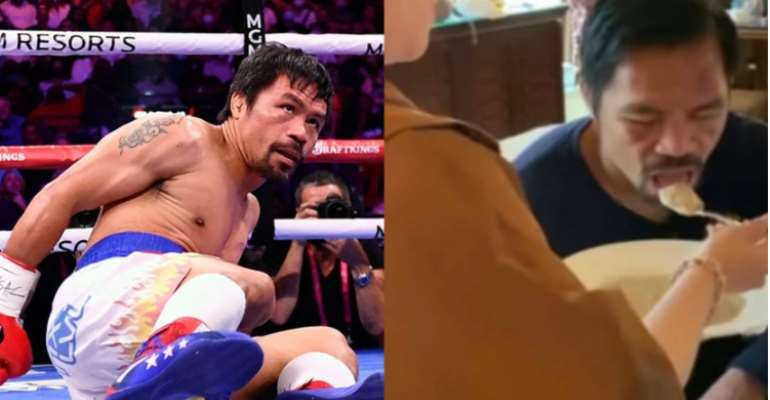 Manny Pacquiao struggles to eat after defeat to Yordenis Ugas [Video]