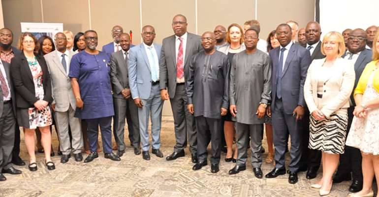 Vice-President Dr. Mahamudu Bawumia (4th from right) with guests including ministers after the 11th International Upstream Forum in Accra