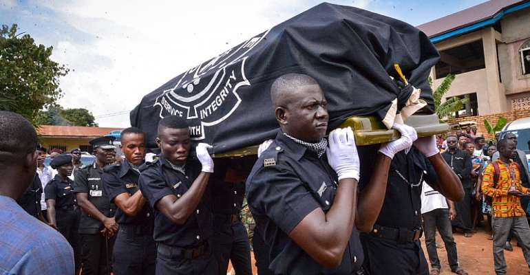 Slain police for burial