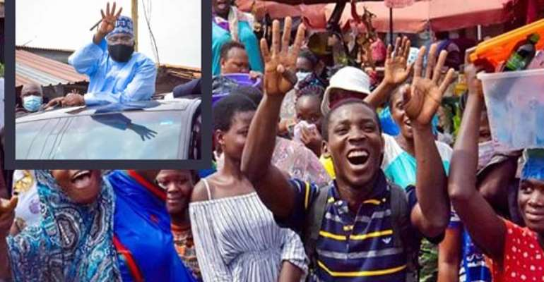Bawumia (inset) acknowledging the cheers by the ecstatic residents