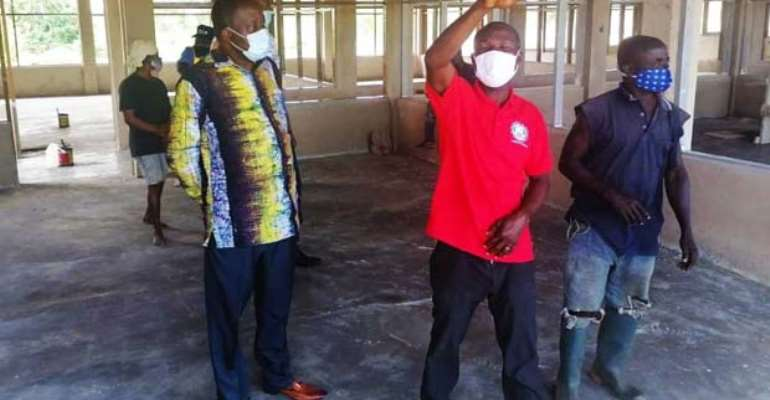 Prof. Anthony Afful-Broni (left) on an inspection of the facility.