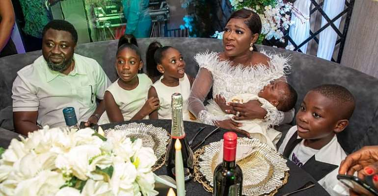 Mercy Johnson Okojie Moved To Tears In Surprise All-white Anniversary/birthday Party