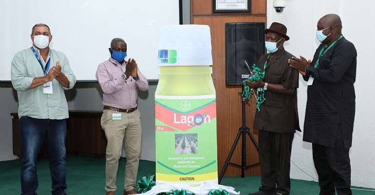 L-R: Cassava Farmer, Marcos Antonio Dalevedove; Country sales Manager, Bayer Nigeria Limited, Temitope Banjo; Director for Development & Delivery at IITA, Dr Alfred Dixon; and a representative of Nigeria Cassava Growers Association, Simeon Adetunji during the launch of Lagon for weed control in Cassava on Tuesday in Ibadan