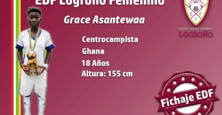 OFFICIAL: Black Queens Midfielder Grace Asantewaa Joins Spanish Side Logroño