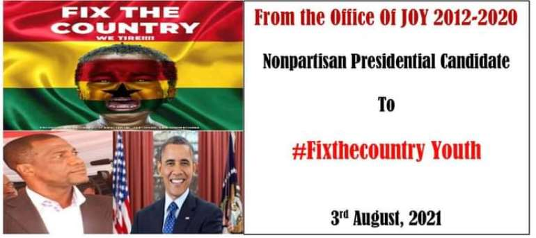 Nonpartisan Presidential Candidate JOY encourages #FixTheCounty Youth ahead of tomorrow's demo