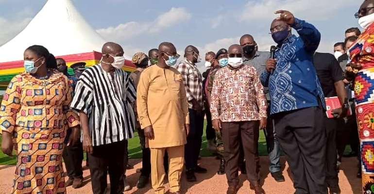President Akufo-Addo inspecting the Tema-Mpakadan rail project