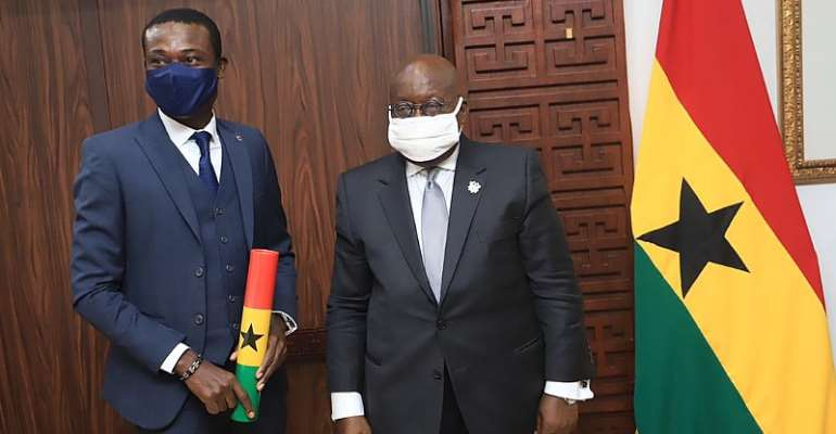 President Akufo-Addo [Right] with New Special Prosecutor Kissi Agyebeng [Left]