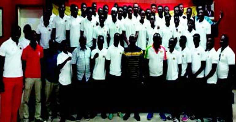 Prof. Twumasi (8thL front) with Officials and Team Ghana