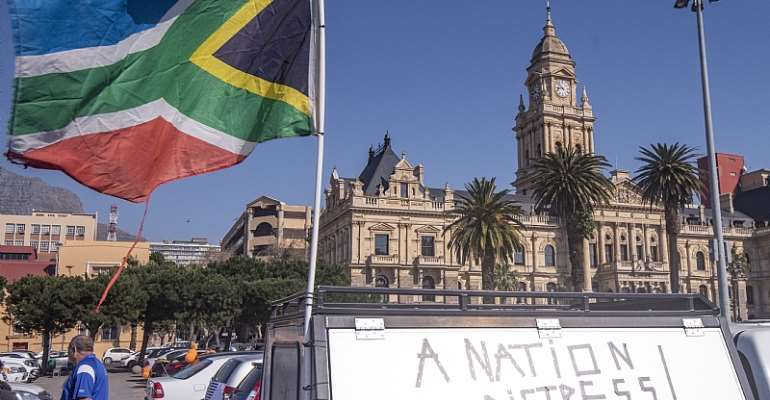 Bikers protest against the tobacco ban at Parliament in Cape Town, South Africa.  - Source: