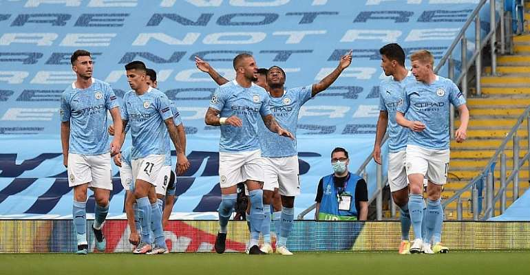 Raheem Sterling of Manchester City celebrates with teammates after scoring his team's first goal during the UEFA Champions League round of 16 second leg match between Manchester City and Real Madrid at Etihad Stadium  Image credit: Getty Images