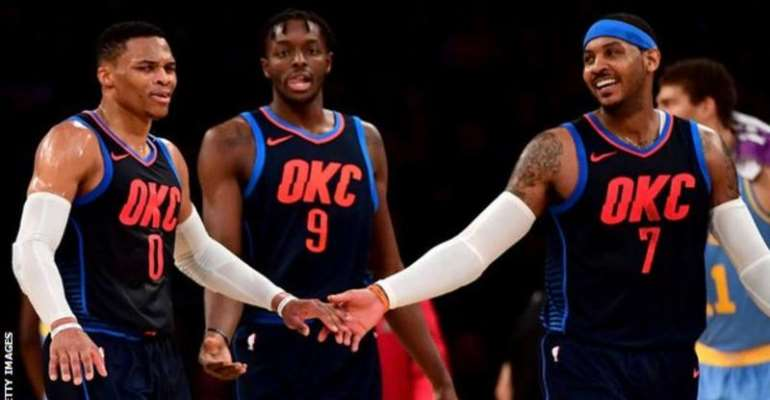 Russell Westbrook (left) and Carmelo Anthony (right) were team-mates for the Oklahoma City Thunder in 2017-18