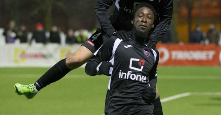 Former Kotoko defender Ofosu Appiah sent off whilst in action for Infonet in Estonia