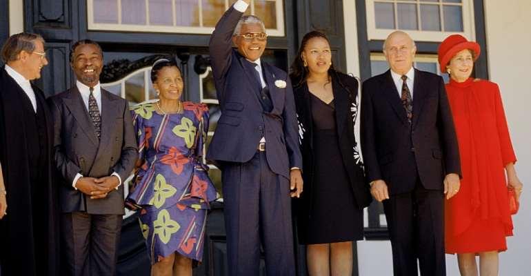 Apartheid-era Justice Minister Kobie Coetsee, Thabo and Zanele Mbeki, Nelson Mandela and his daughter Zenani, FW and Marike de Klerk. - Source: GettyImages