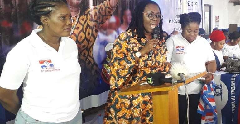 Ursula Owusu-Ekuful addressing women at the programme