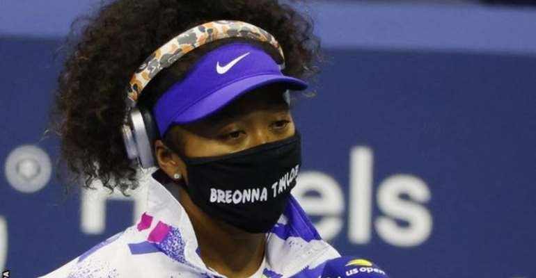 Naomi Osaka walked out on court wearing a face mask with the name of Breonna Taylor, a black woman who was shot dead by a policeman in March in the United States