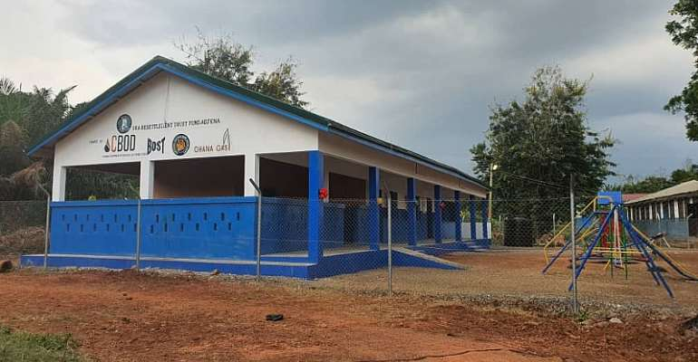 The newly constructed two-unit Kindergarten school block for the people of New Adjena in the Asuogyaman District