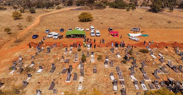An aerial picture of funerals taking place at a section of the Westpark cemetery in Johannesburg. - Source: Michelle Spatari/AFP via Getty Images