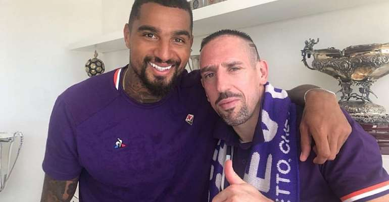 KP Boateng Hilariously Welcomes Frank Ribery To Fiorentina Training [VIDEO]