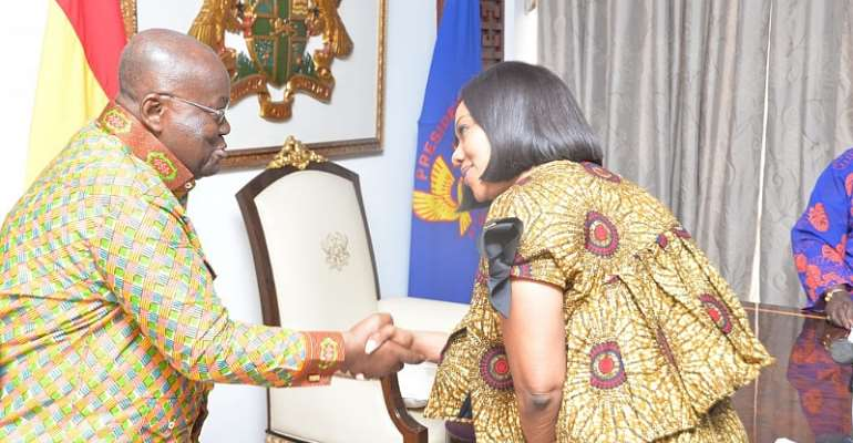 President Akufo-Addo welcoming Jean Mensa to the Jubilee House in Accra.
