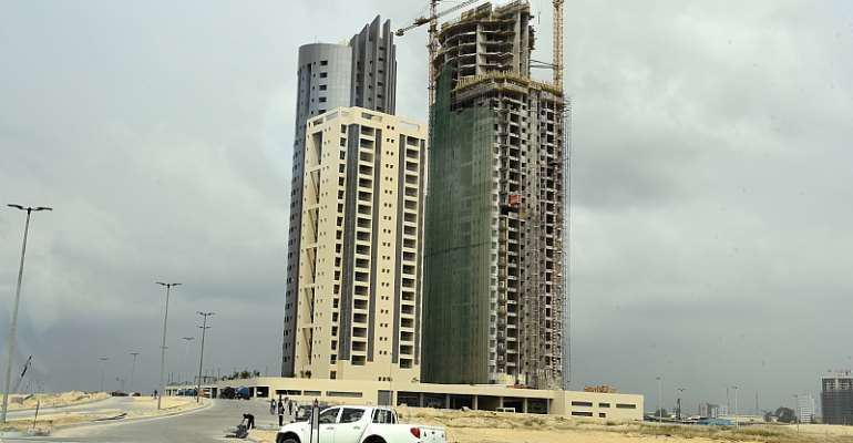 """Eko Atlantic city in Lagos is described as the largest real estate project in Africa and dubbed the """"Dubai of Africa"""". - Source: Pius Utomi Ekpei/AFP via Getty Images"""