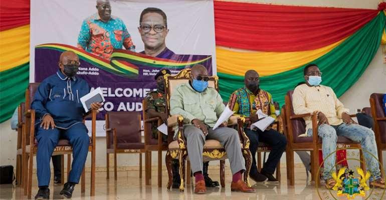 President Akufo-Addo with John-Peter Amewu cream top) and Volta Minister, Dr. Archibald Letsa (Blue black Kaftan)