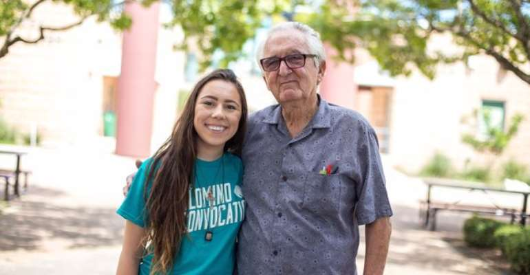 Teen, her 82-year-old grandpa go back to school at same college