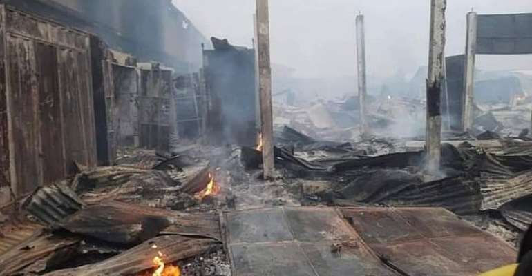 Over 100 Shops Destroyed by Fire in Akyem Oda