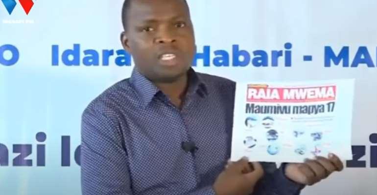 Tanzanian government spokesperson Gerson Msigwa is seen discussing the suspension of the Raia Mwema newspaper. (Photo: YouTube/Wasafi Media)
