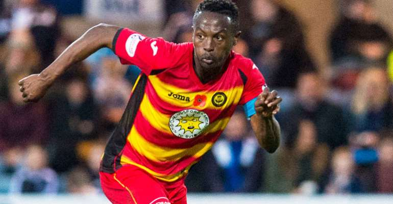 Ghanaian midfielder Abdul Osman sent off while in action for Partick Thistle in Scottish Premiership