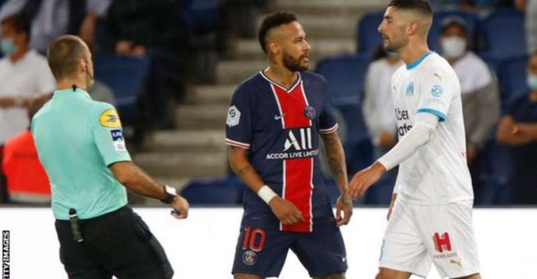 A VAR review showed Neymar made contact with the back of Marseille defender Alvaro Gonzalez's head