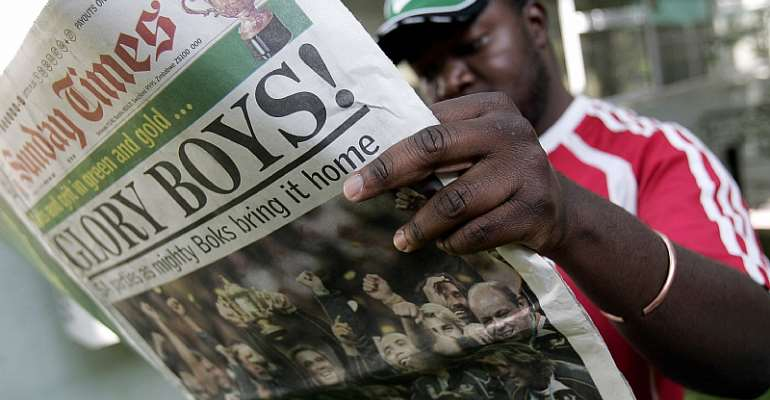 The Sunday Times,  South Africa's largest weekend newspaper, was used to spread disinformation.  - Source: Gianluigi Guercia/AFP via Getty Images